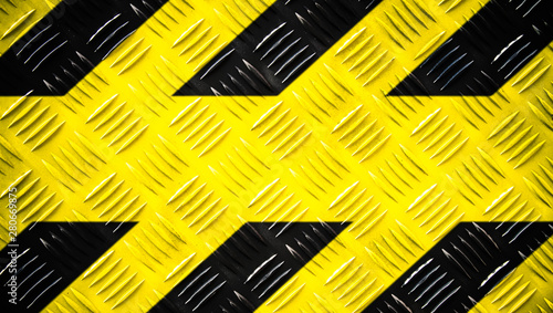 canvas print motiv - fewerton : Warning sign yellow and black stripes painted on steel checker plate or diamond plate on floor texture wide banner background with empty text space. Concept do not enter area, caution, danger, hazard