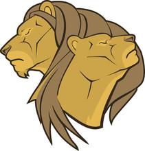 Lion And Lioness Cartoon Head