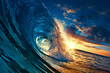 canvas print picture Ocean Sunset Wave, clear water in Tropical sea colorful background