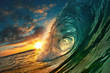 canvas print picture - Ocean Sunset Wave, clear water in Tropical sea colorful background
