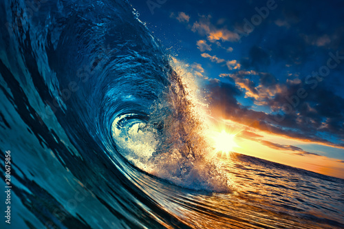 Ocean Sunset Wave, clear water in Tropical sea colorful background Wallpaper Mural