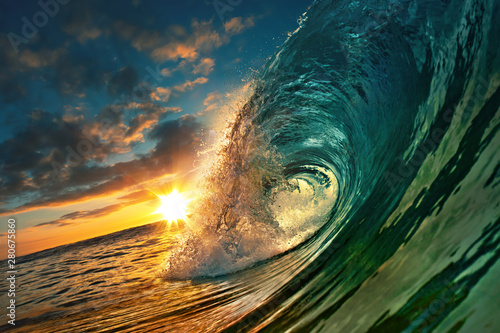 canvas print motiv - willyam : Ocean Sunset Wave, clear water in Tropical sea colorful background