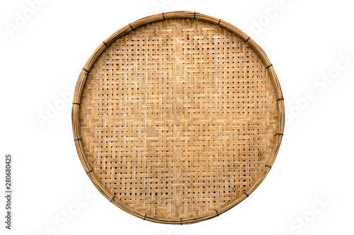 Fotografie, Obraz  Old weave bamboo wood tray isolated on white background