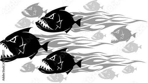 Piranha Feeding Frenzy Wallpaper Mural