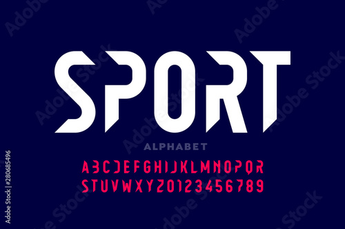 Sport style modern font, alphabet letters and numbers Wallpaper Mural