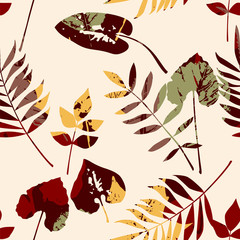 FototapetaAbstract seamless pattern with leaves. Vector background for various surface.