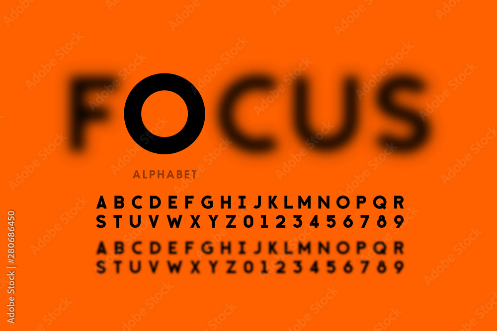 Fototapety, obrazy: In focus style font design, alphabet letters and numbers