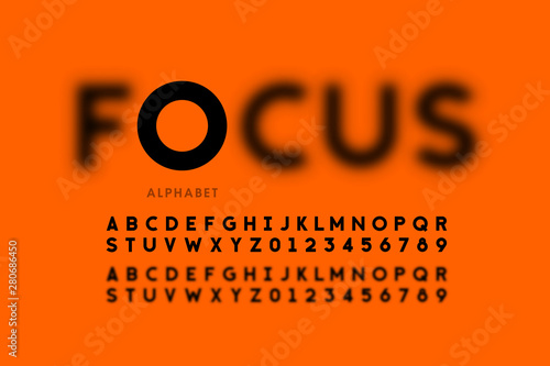 Fotografiet  In focus style font design, alphabet letters and numbers