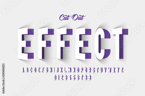 Photographie Paper cut out effect font design, alphabet letters and numbers