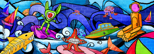Poster Graffiti City monsters Future the colorful paint Wall