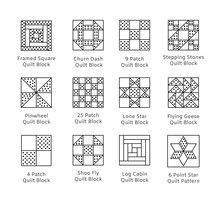 Quilt Sewing Pattern. Log Cabin, Pinwheel Tiles. Quilting & Patchwork Blocks From Fabric Squares, Triangles. Vector Line Icon Set. Isolated Objects