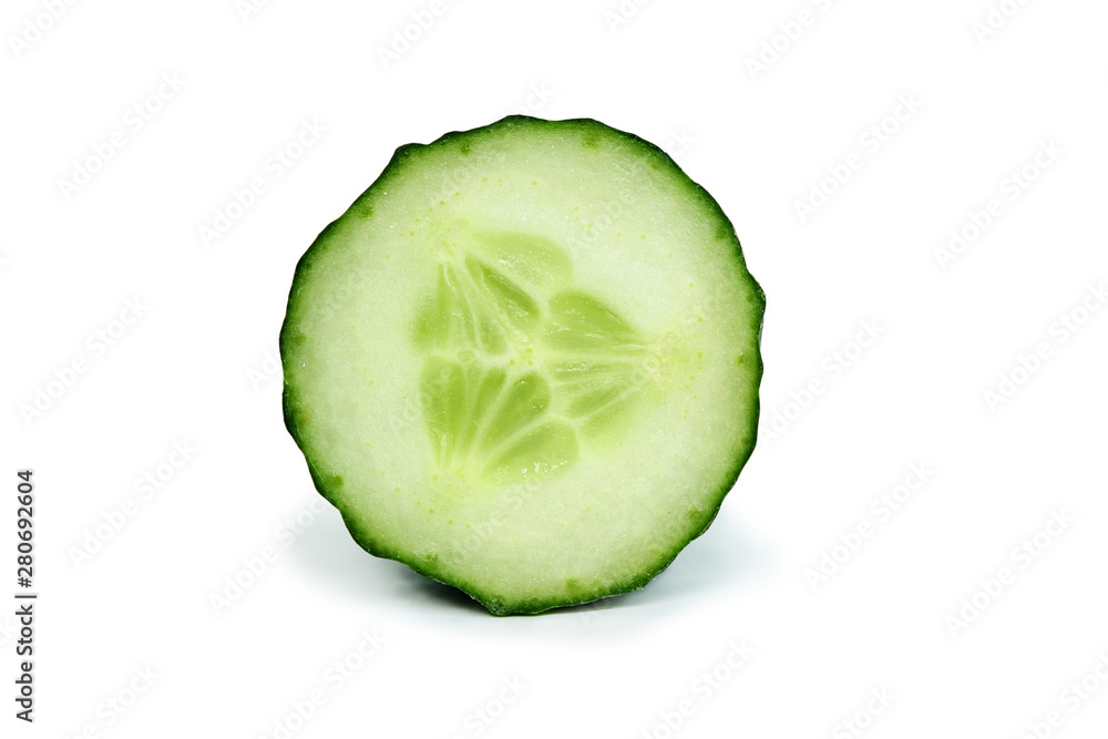 Fototapety, obrazy: Sliced open green cucumber vegetable isolated on white background