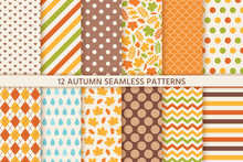 Autumn Pattern. Vector. Seamless Background With Fall Leaves. Floral And Geometric Texture. Seasonal Wallpapers. Colorful Cartoon Illustration In Flat Design. Yellow, Orange Print.