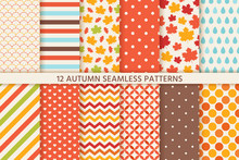 Autumn Pattern. Vector. Seamless Background With Fall Leaves, Polka Dot, Stripes And Zig Zag. Set Seasonal Geometric Wallpapers. Abstract Fabric Texture. Colorful Cartoon Illustration In Flat Design.