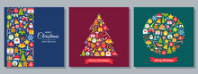 Christmas Background. Vector. Decoration Greeting Card. Creative Design Banner With Christmas Icons. Holiday Poster. Cartoon Square Illustration. Party Template In Flat Style. Set Xmas Postcards.