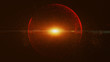 canvas print picture The black background has a small red dust particle that shines in a circular motion, explosion light ray beam.