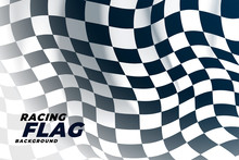Checkered Flag Waving Outside Background
