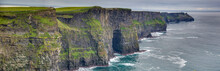 Panorama Picture Of The Cliffs Of Moher At The West Coast Of Ireland