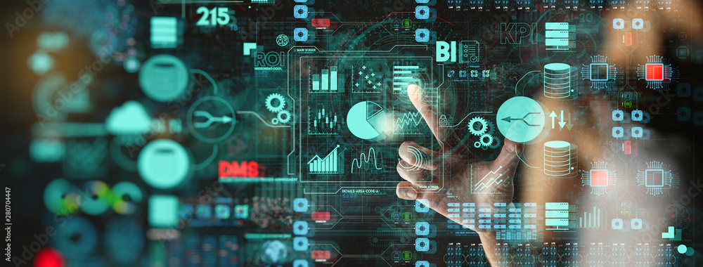 Fototapeta Business data analytics process management with businesswoman hand touching connected gear cogs with KPI financial charts and graph and automated marketing dashboard.