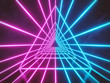 canvas print picture blue and pink colored neon glowing triangle lines tunnel. futuristic abstract Sci Fi background. 3d rendering