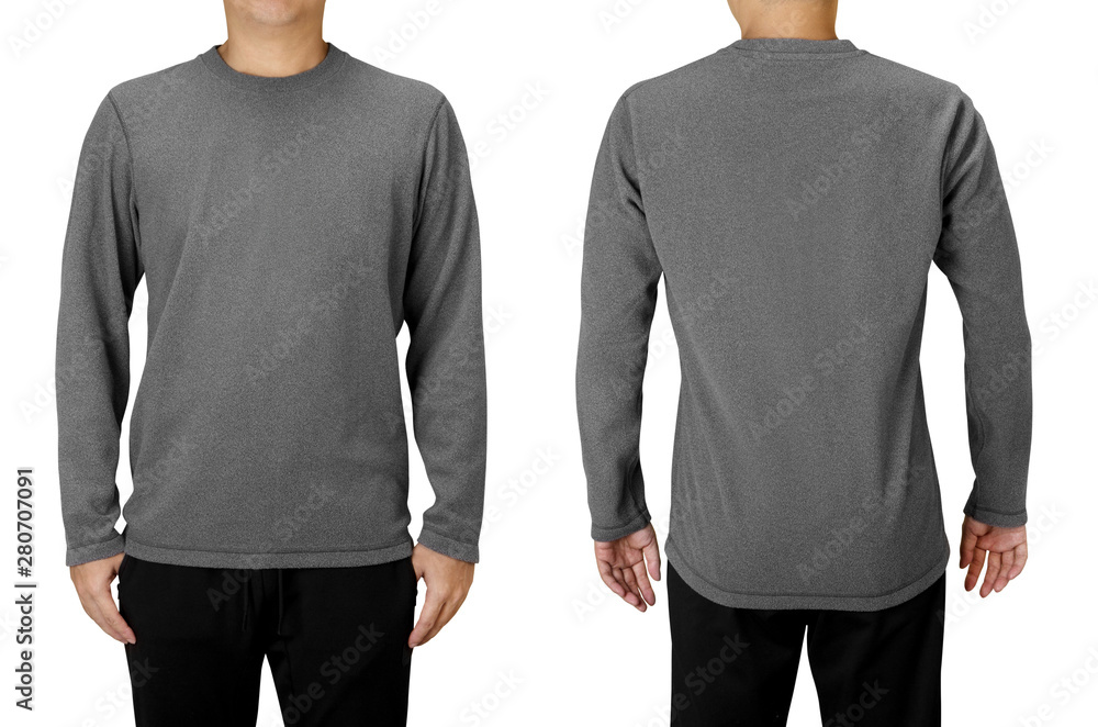 Fototapety, obrazy: Man wearing gray long sleeve t-shirt isolated on white background. Front and back view.