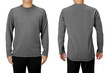 canvas print picture - Man wearing gray long sleeve t-shirt isolated on white background. Front and back view.
