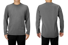 Man Wearing Gray Long Sleeve T-shirt Isolated On White Background. Front And Back View.