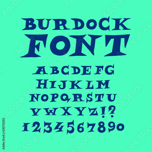 Alphabet of English modern fun font. Vector. A complete set of spiny letters. Freehand drawing. Accident font for headlines. Capital letters, Latin. Wall mural