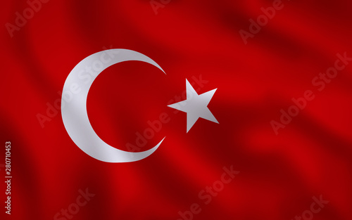 Fotografie, Obraz  Turkey Flag Image Full Frame