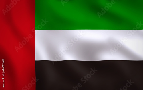 Fotografie, Obraz  United Arab Emirates Flag Image Full Frame