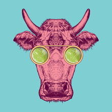 Vector Image Of A Cow With Gla...