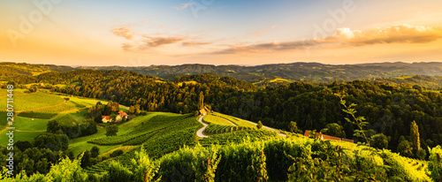 Famous heart shaped street at vineyards in Slovenia close to the border with Austria south styria Canvas-taulu