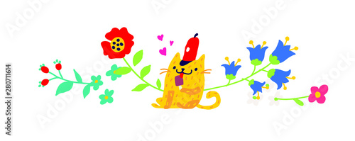 Illustration of a yellow cat in a red cap with an ice cream. Vector. Children's cartoon, doodle style. Illustration for postcard or congratulations. Institutions for children. Flower ornament.