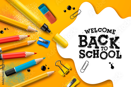 Obraz Welcome Back to School, poster and banner with colorful pencils and elements for retail marketing promotion and education related. Vector illustration. - fototapety do salonu