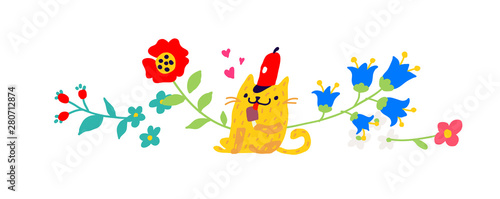 Illustration of a yellow cat in a red cap with an ice cream.  Children's cartoon, doodle style. Illustration for postcard or congratulations. Institutions for children. Flower ornament.