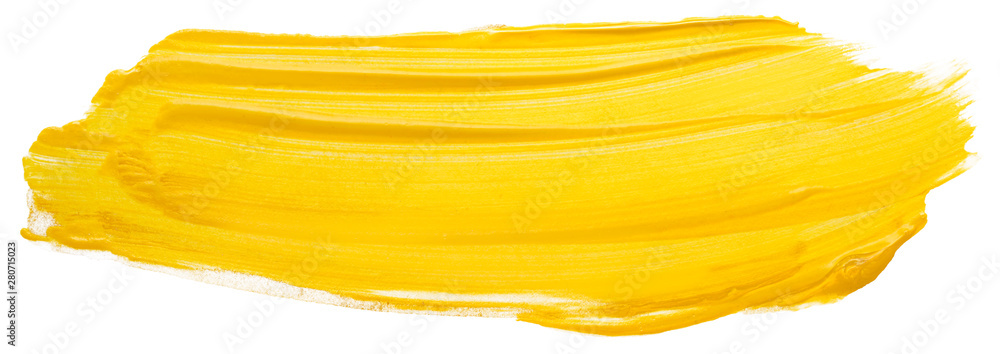 Fototapety, obrazy: yellow acrylic stain element on white background. with brush and paint texture hand-drawn. acrylic brush strokes abstract fluid liquid ink pattern