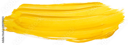 Fototapeta yellow acrylic stain element on white background. with brush and paint texture hand-drawn. acrylic brush strokes abstract fluid liquid ink pattern obraz
