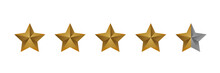 Luxury Four And A Half Stars Golden Gradient Rating Icon Vector