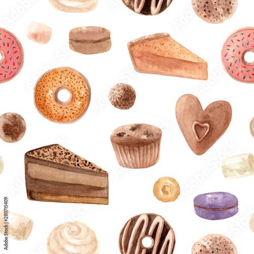 Foto auf Leinwand Künstlich Seamless pattern. Watercolor sweets. Hand drawn dessert illustration. Design fabric, packaging, textile