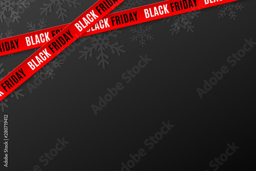 Obraz Template for Black Friday sale on black background. Crossed red ribbons with text. Snowflakes background. Super seasonal sale. Festive graphic elements. Vector illustration - fototapety do salonu