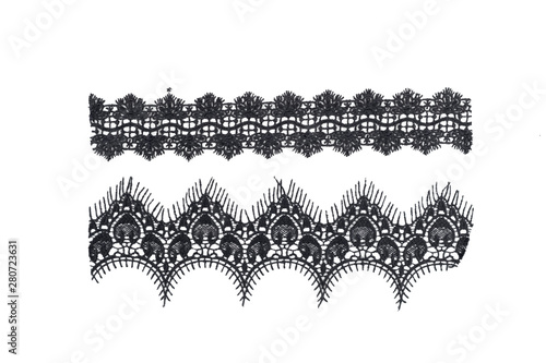 Photo  strip of black lace isolated,border lace isolated