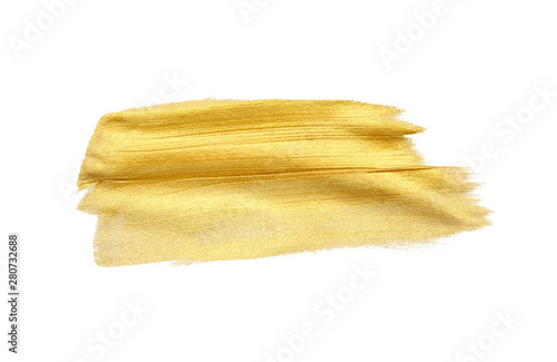 Gold (bronze) glittering color smear brush stroke stain blot on white background. Abstract Paint texture.