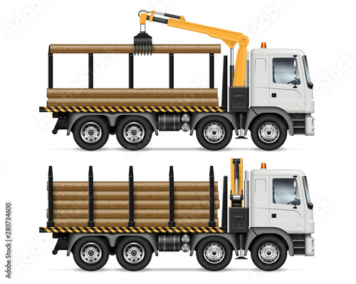 Fototapeta Logging truck side view isolated on white background. Forestry and wood production vehicle vector mockup. All elements in the groups on separate layers for easy editing and recolor obraz