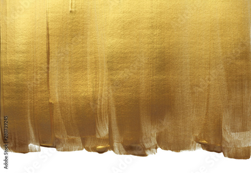 Abstract gold (bronze) glittering color surface. Paint smear brush stroke stain texture.