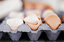 Broken Eggshells In A Egg Carton In The Kitchen