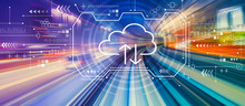 Cloud Computing With Abstract High Speed Technology POV Motion Blur