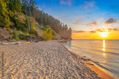 Poster Mer coucher du soleil Sunrise over the Baltic Sea