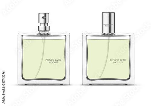 Fototapeta Perfume glass bottle mockup, blank cosmetic bottles template. Package design. Realistic 3d vector illustration isolated on white background obraz na płótnie