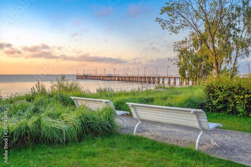 Obraz Świt nad Morzem Bałtyckim, Gdynia Orłowo - fototapety do salonu