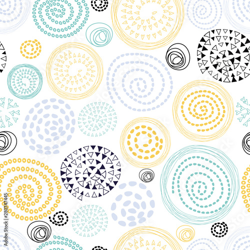 Carta da parati  Abstract seamless pattern with hand drawn round elements Yellow blue white color